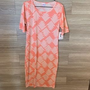 LuLaRoe Pink Julia Dress Size L Aztec